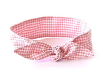 No Wire Dolly Bow Headband Rosie the Riveter Pink Gingham Rockabilly Pin Up Women Teen Girls Headscarf Top Knot Headband
