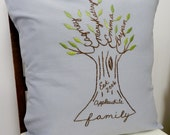 Personalized Family Tree Pillow Cover. Wedding Anniversary Gift.  Hand Embroidery. Gift for Parents. Siblings. Spa Blue. Birthday for Her.