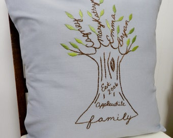 Personalized Family Tree Pillow Cover. Father's Day Personalized. Spa Blue. Wedding Anniversary Personalized. Mom Birthday. Gift for Dad.