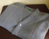 Mens Cardigan Sweater, Mens Striped Sweater, Size Large L Grand Slam Munsingwear 1970s Gray Blue
