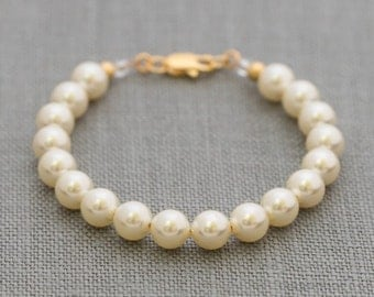 Flower Girl Pearl Bracelet Gold, Junior Bridesmaid Jewelry, Gold Child's Pearl Bracelet, Flower Girl Pearl Jewelry