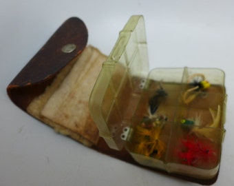 Vintage Leather Fly Fishing Case - Lyon and Coulson Fly Fishing Wallet - Fishing Lure Case - Vintage Fly Fishing Lures-  13 Flies.