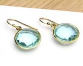 Faceted Blue Topaz Light Turquoise Crystal Earrings in Gold Bezel