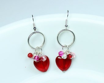 "Earrings - Red Heart Beads - Pearls - Cluster - Dangle Earrings ""Only You Can Love Me This Way"""