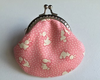 Small handmade coin purse - little bunny in pink