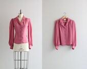 Womens Vintage Top . 1960s 60s Secretary Shirt . Dusty Rose Womens Blouse