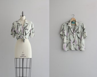 Pastel Button Down Shirt . Vintage Hawaiian Print Shirt . 70s 80s Womens Blouse