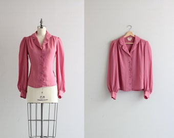Womens Vintage Top . 1960s 60s Secretary Shirt . Dusty Rose Womens Blouse