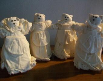 SALE - Vintage Muslin Cat Dolls - Set of 4