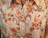 1970's Unisex Orange Polyester Button Front Shirt Blouse with Twiggy or Art Deco Women and Flowers-hippie shirt, boho shirt, 1970s clothing