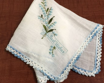 "Vintage 'Best Wishes"" Blue Floral Lily of the Valley Handkerchief Hanky Crochet Hem- blue handkerchief,best wishes hanky, crochet hem hanky"