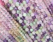 Raibow color quartz beads, colorful amethyst,citrine, rose quartz,  green olivine beads, 15 inch strand