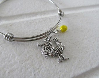 Rooster Charm Bracelet- Adjustable Bangle Bracelet with Rooster Charm, and accent bead in your choice of colors