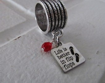 """Scarf Accessory, Decoration- """"Life is better in flip flops"""" laser etched charm with an accent bead in your choice of colors- Scarf Bling"""