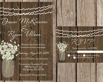 Rustic Wedding Invitation, Mason Jar Wedding Invitation, Daisy Wedding Invitaiton, Country Wedding Invitation, Barn Wedding Invitaiton