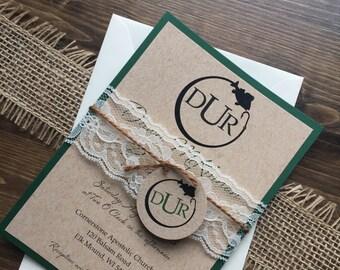 Rustic Wedding Invitation, Fishing Wedding Invitation, Lace Wedding Invitations, Barn Wedding Invitation, Country Wedding Invitations