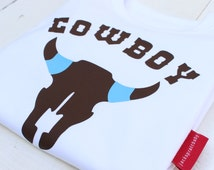 T-Shirt, Cowboy, Boys Top, Boys Gift, Birthday Top, New Baby, Boys Clothes, Boy, Kids Top, Personalised Boy, Personalized, Cowboy Top