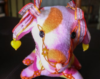 Decorative Stuffed Dog in Bright Pink and Mutli-Colored Fleece