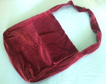 Handmade vintage deep red velvet shoulder bag