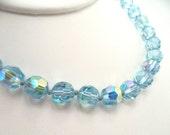 Vintage Light Blue Crystal AB Aurora Borealis Choker Necklace