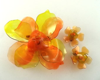 Cellulose Acetate Orange Yellow Flower Brooch Earrings Set
