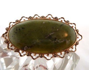 Vintage 14K Gold Jadeite and Marcasite Brooch Pin