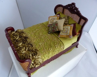 Doll house miniature dressed bed