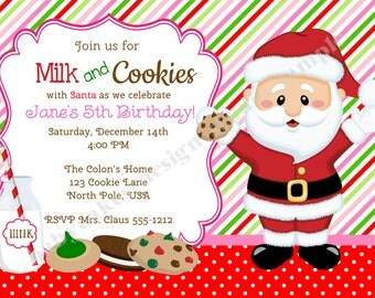 Milk and Cookies Invitation Invite Cookies with Santa Holiday Cookie Party Invitation Cookie Exchange Cookie Swap Printable DIY