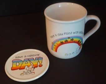 Hallmark Mug Mates Coffee Mug & Lid Have A Day Filled With Rainbows