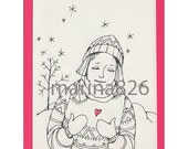 Coloring Valentine's Card- Heart Snow -Love You drawing people gift paper