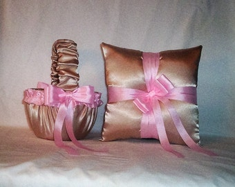 Champagne Satin With Light  Pink Trim Flower Girl Basket And Ring Bearer Pillow