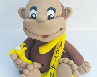 Curious George Cake Topper Birthday Baby Shower Monkey Personalized Yellow Hat Safari Personalized Zoo Cupcake Decoration Custom Keepsake
