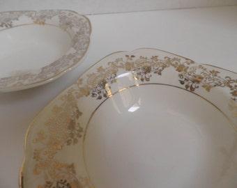 22Karat GOLD, antique Edwin Knowles China Berry Bowls, Circa 1934, set of 2