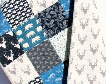 Baby Boy Quilt, Navy Blue Grey Gray, Elk Deer, Woodlands Birch Forest Modern Blanket Arrows Feathers Aztec Bears Crib Bedding Children Baby