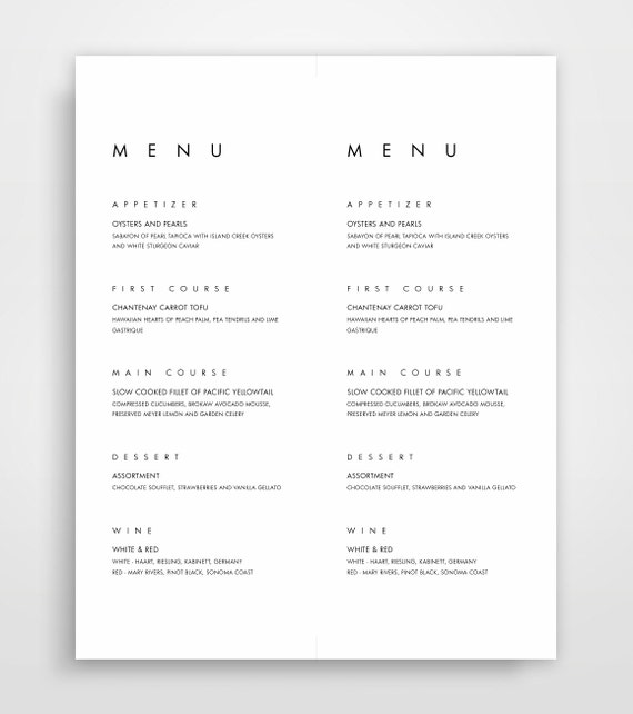 Modern Menu Cards Modern Wedding Menu Card Menu Card