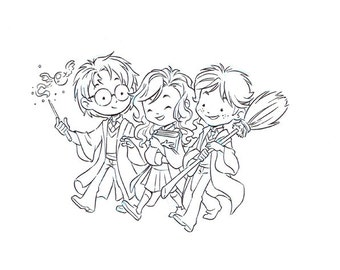 Magic Trio: Original Inks, Harry Potter, Hermione, art