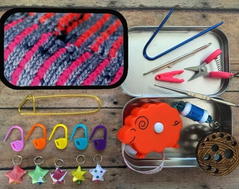 Pink Mikkey - Knitter's Tool Tin: Travel notions for your project bag!