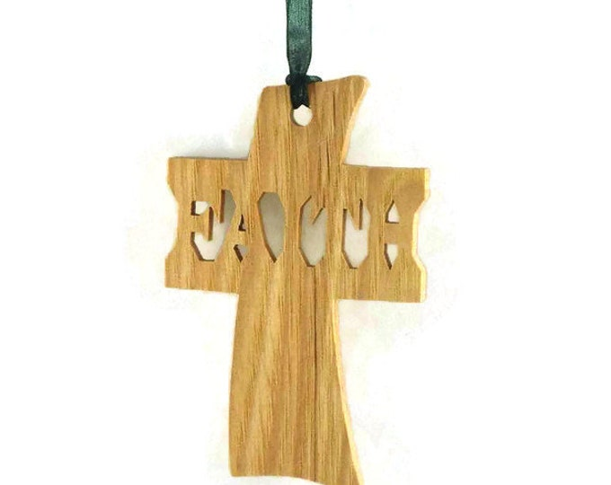 Faith Cross Christmas Ornament Handmade From Ash Oak or Walnut Hardwood
