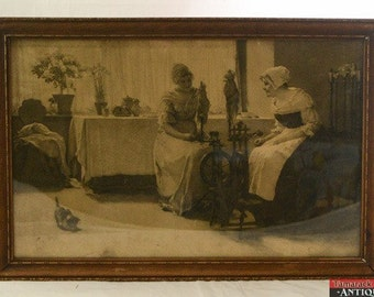 """Framed Litho Print """"Ladies in an Interior"""" Laurits Andersen Ring Muenchen 84"""