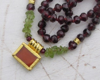 Colorful Gold Necklace - Garnet, Carnelian & Peridot Necklace - 24k Gold Pendant - Statement Necklace