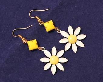 Vintage Drop Earrings, Repurposed, Vintage Enamel Flowers, White, Yellow, Pierced, Dangle, Hippie, Mod, Boho, Jennifer Jones, OOAK - Daisies