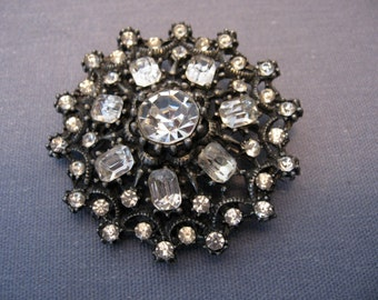 Vintage Clear Rhinestone Pot Metal Brooch
