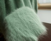 Vintage Angora Mohair Mink wool Turtle Neck Mint Green Sweater, Pullover, size M,M-L