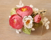 Floral hair comb, bridesmaids hair comb, wedding comb, coral pink roses, one of a kind comb - 'Coralista Comb'
