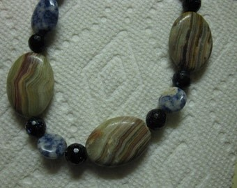Necklace and/or bracelet, onyx, sodalite, goldstone, sterling toggle clasp