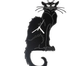 Chat Noir Cat wall Clock (Black)