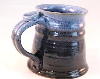 12 oz.Tankard, Stein, Coffee Mug - Handmade Pottery Glazed in Denim Jeans Blue and Black