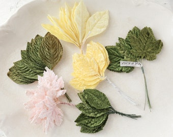 Vintage Velvet Leaves Collection - Rose and Grape Millinery Craft Leaf Bunches - 60 Leaves