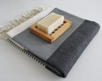 BathStyle / Turkish Beach Bath Towel / Classic Peshtemal / Gray Black / Wedding Gift, Spa, Swim, Pool Towels and Pareo