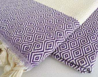 SALE 50 OFF/ BathStyle Diamond Turkish Beach BathTowel / Purple /  Wedding Gift, Tea, Spa, Swim, Pool Towels